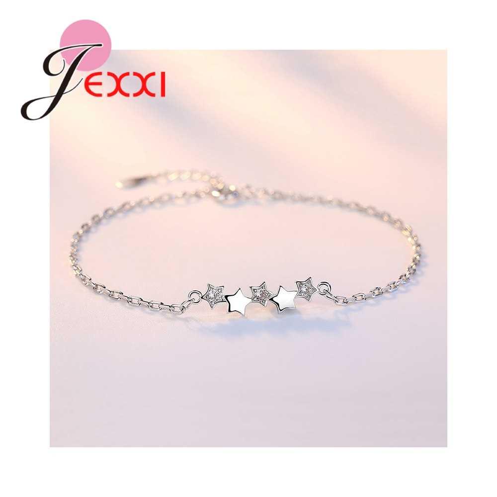 Elegante Trendy Sterne Form Armband 925 Sterling Silber Klar Zirkonia Mode Frauen Mädchen Geburtstag Geschenk