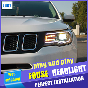 car styling For Jeep compass headlights assembly 2017-2018 for compass LED xenon H7 with hid kit 2 pcs.