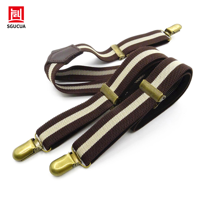 Hot brown striped suspenders Bronze Accessories 3 clip Leather suture connection 2018 NEW retro style men and women braces