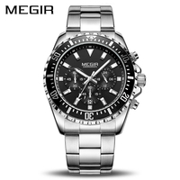 MEGIR יוקרה עסקי קוורץ שעון גברים מותג נירוסטה הכרונוגרף צבא צבאי שעון יד שעון Relogio Masculino זכר