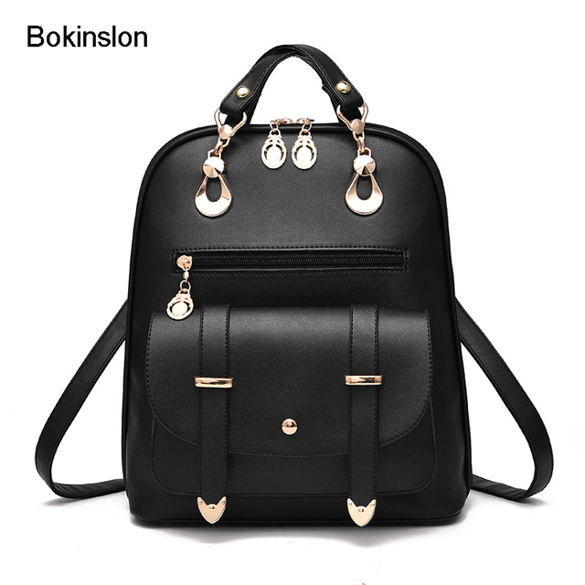 Bokinslon School Bags College S Por Pu Leather Casual Woman Backpack Small Fresh Women Brand