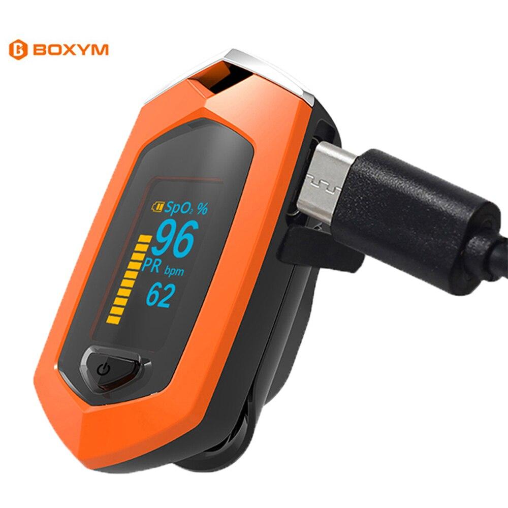 Oxímetro de pulso de dedo portátil com caso digital rechargable oxímetro de pulso de dedo display oled saturometro