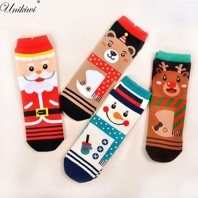 kawaii womens novelty funny christmas sockslady girls cotton cartoon elk snowman santa ankle socks - Funny Christmas Socks