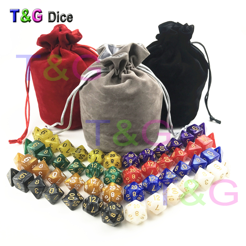 56pcs/bag D&D Dice Sets with Pearlized Effect D4 d6 d8 d10 d10% d12 d20 RPG game Dice with bag board game gift игра мозаика с аппликацией медовая сказка d10 d15 d20 105 5 цв 6 аппл 2 поля