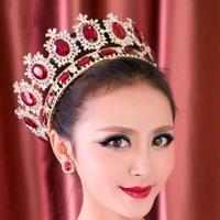 Royal Queen diadema Europe Gold Crystal Tiaras Crowns for bride Full Circle Headdress Hair Jewelry Wedding Hair Accessories LB
