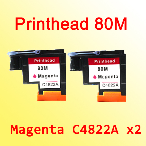 2x magenta printheads For hp80 for hp 80 Designjet 1000 1050c 1055cm C4822A hp q7583a magenta