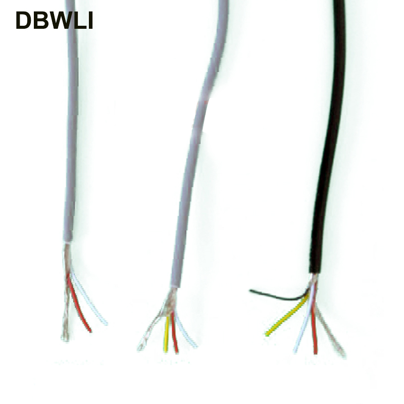 2 3 4 core shielded wire UL 2547 <font><b>28AWG</b></font> 5 meter 16.4 ft 2.1 channel Audio line signal <font><b>cable</b></font> shield wire for amplifier,Black Grey image