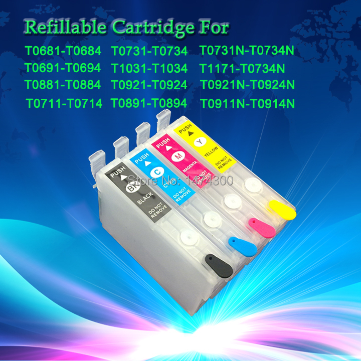 10sets 0711 Empty refillable ink cartridge for EPSON D78 D92 DX4000 DX4050 DX4450 DX4400 DX5000 DX5050 DX6000 DX6050 T0711-T0714 refillable color ink jet cartridge for brother printers dcp j125 mfc j265w 100ml