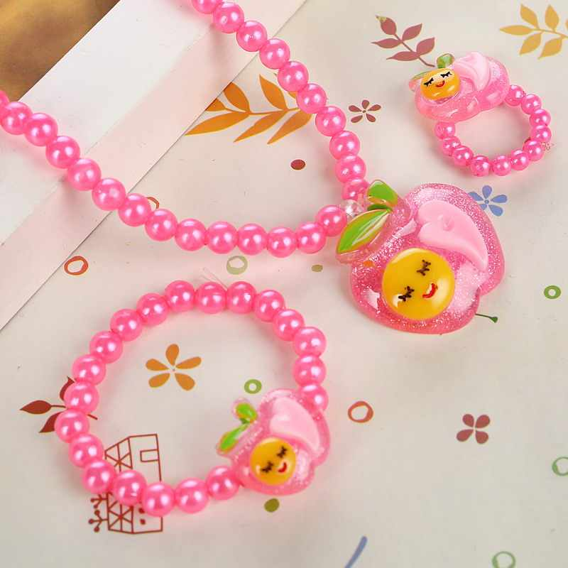 Baby Elegant Apple Pendant Necklaces Beads Bracelet Finger Ring Friendly Kids Children Jewelry Sets Party Gift