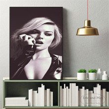 Margot Robbie Black and White Art Canvas Painting Wall Nordic Decoration Home Modern Poster For Living Room Print Pictures
