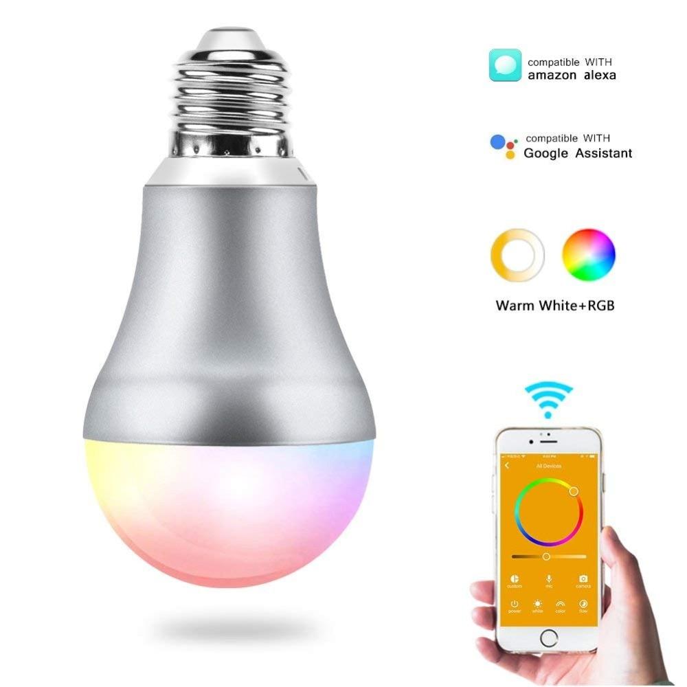 CR60 Led E27 Wifi Smart Light Bulb RGBW APP Remote Control E14 Wifi Light Switch B22 Led Light Bulb Works With Google Home 7W