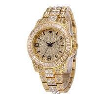Хип-хоп микро с инкрустацией AAA кубический цирконий Bling Iced Out мужчины золотой браслет часы группа звено цепи браслеты для мужчин ювелирные из...