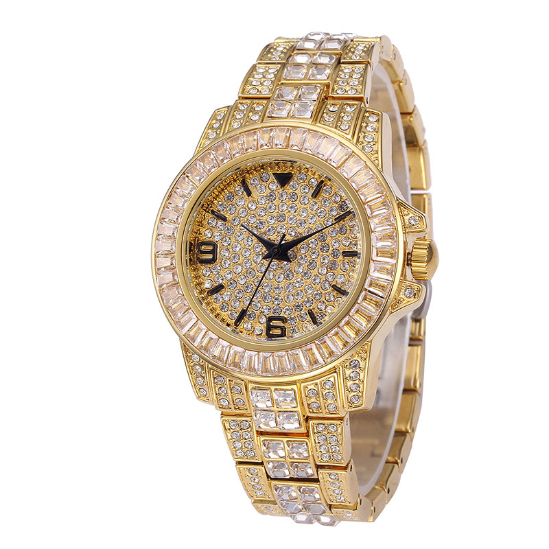 Hip Hop Micro Paved AAA Cubic Zirconia Bling Iced Out Men Gold Bracelet Watch Band Link Chain Bracelets Bangles for Men Jewelry(China)