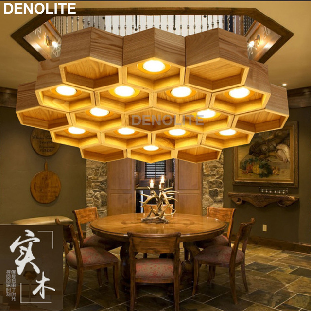Newest Art Hive Design Wooden Pendant Lighting With 12x3W Led Spotlight  Ash Tree Wood Living