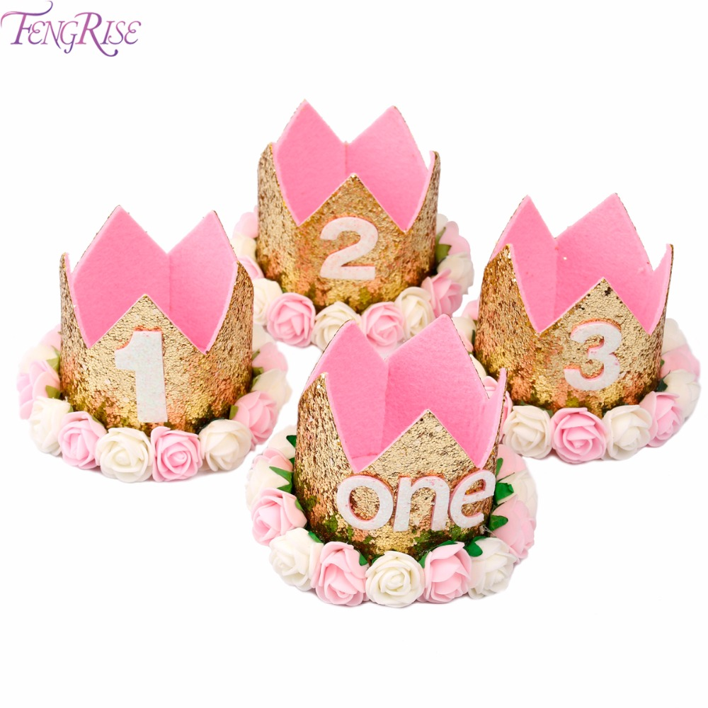 FENGRISE Baby Girl First Birthday Hat 1st 2nd 3rd Party Cap Pink Princess Crown Kids Favors Hair Accessories