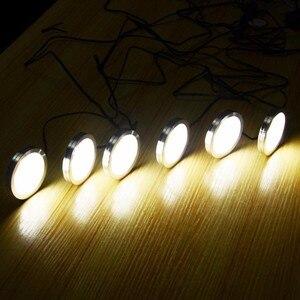 Image 4 - Led dolap altı ışığı mutfak beyaz yuvarlak 3/4/6/8/12 Puck aydınlatma kiti dokunmatik anahtarı dimmer ve fiş tezgah altı ışıkları