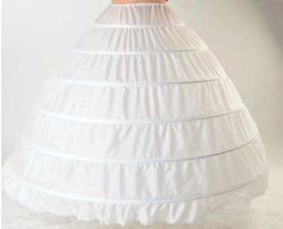 Free shipping High Quality White 6 Hoops Petticoat Crinoline Slip Underskirt For Dress Bridal Gown In Stock