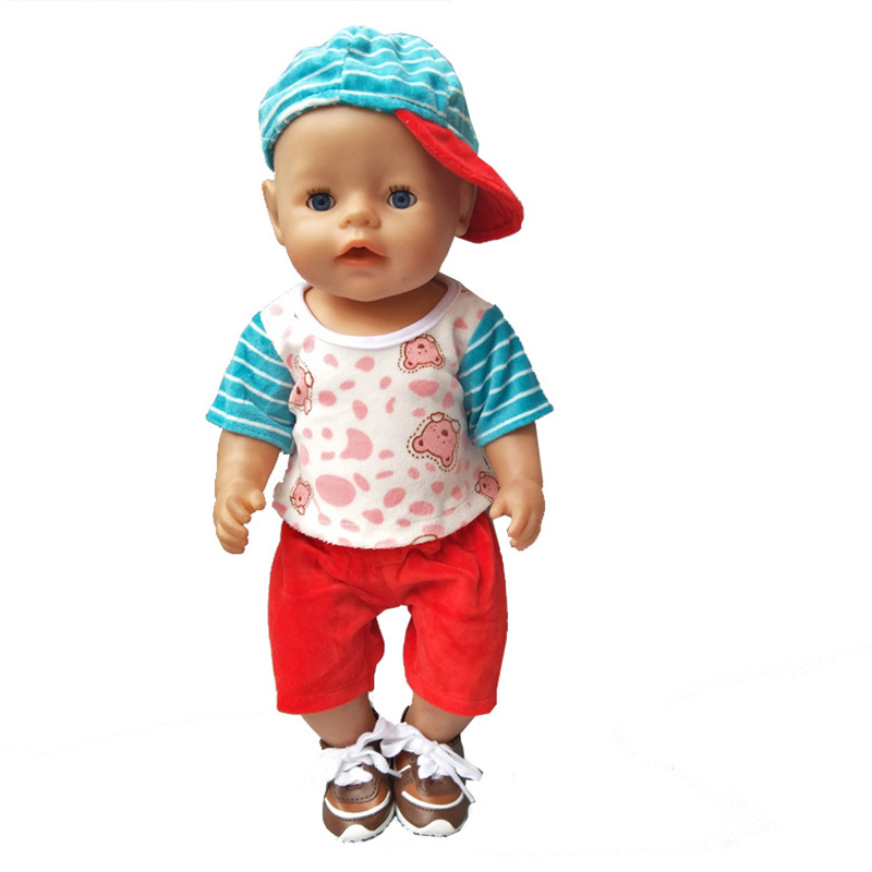 Nettes Hemd Hosen Hut Kleidung für 18 zoll American Girl Baby Geborene Kleidung & Accessoires