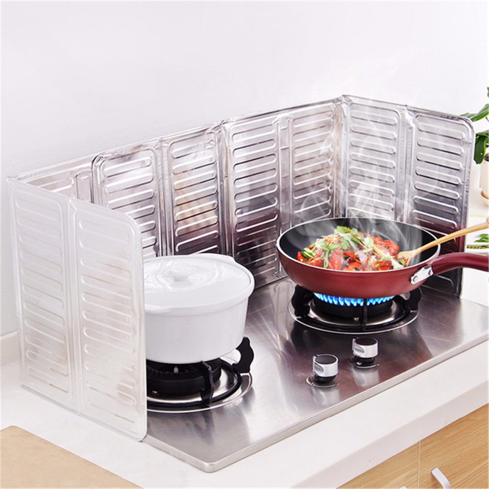 Practical Aluminium Foil Gas Stove Oil Splatter Screen Plate Kitchen Cooking Insulate Splash Proof Baffle Specialty Tools