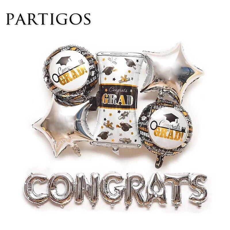 13pcs/lot Congrats GARD Balloons School Graduation Ceremony Certificate Helium Foil Decororation Students Gift Balls Supplies