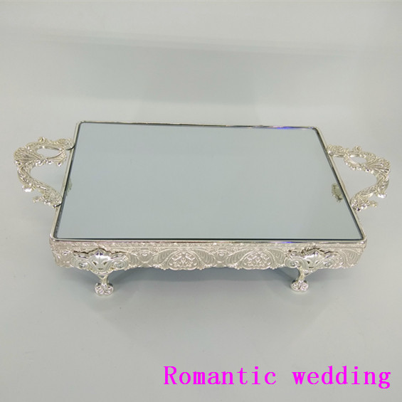 Beautiful Wedding Mirror Surface Tray Cake Stand with Metal Handle Stand Wedding Event Party Centerpieces