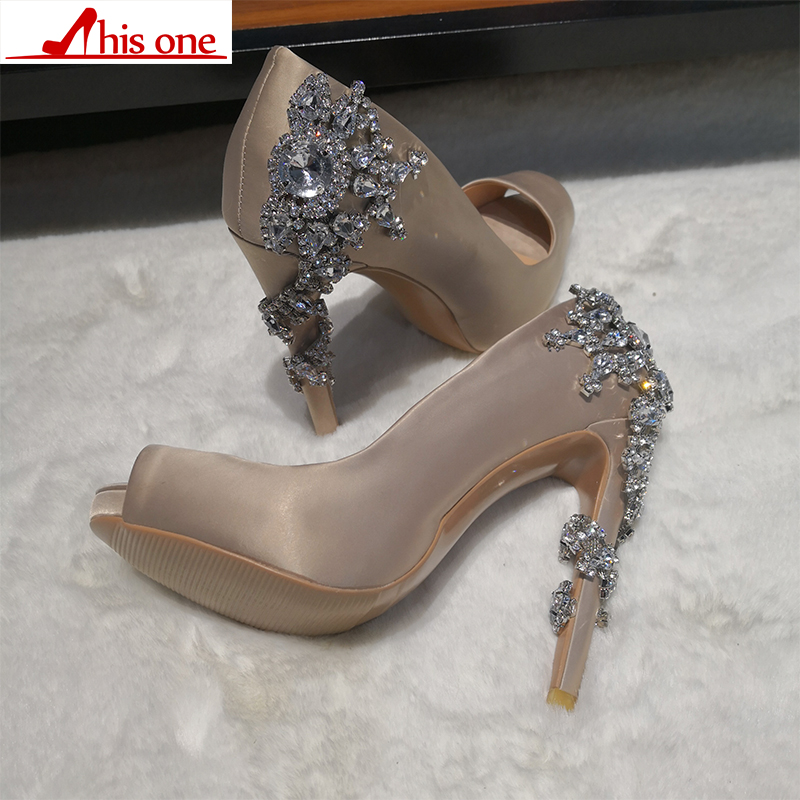 2019 new Open Toe Apricot High Heels for Women Wedding Silk fabric Slip On Crystal Shoes plus size 35 47