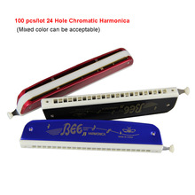цена на 100 pcs/lot Popular Bee 24 Hole Chromatic Harmonica C Key Polyphony Harmonicon  Black Octave-tuned Mouth Organ Harmonica