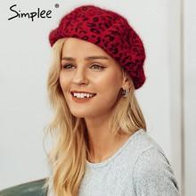 Simplee invierno lana elegante leopardo boina mujer casual streetwear  caliente boina sombrero otoño Fiesta club mujer a36132ec6c6