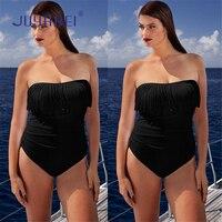 JUYABEI Brand Sexy Push Up One Piece Bikini Mujer Bandeau Tassel Off Shoulder Monokini Swimwear Beach