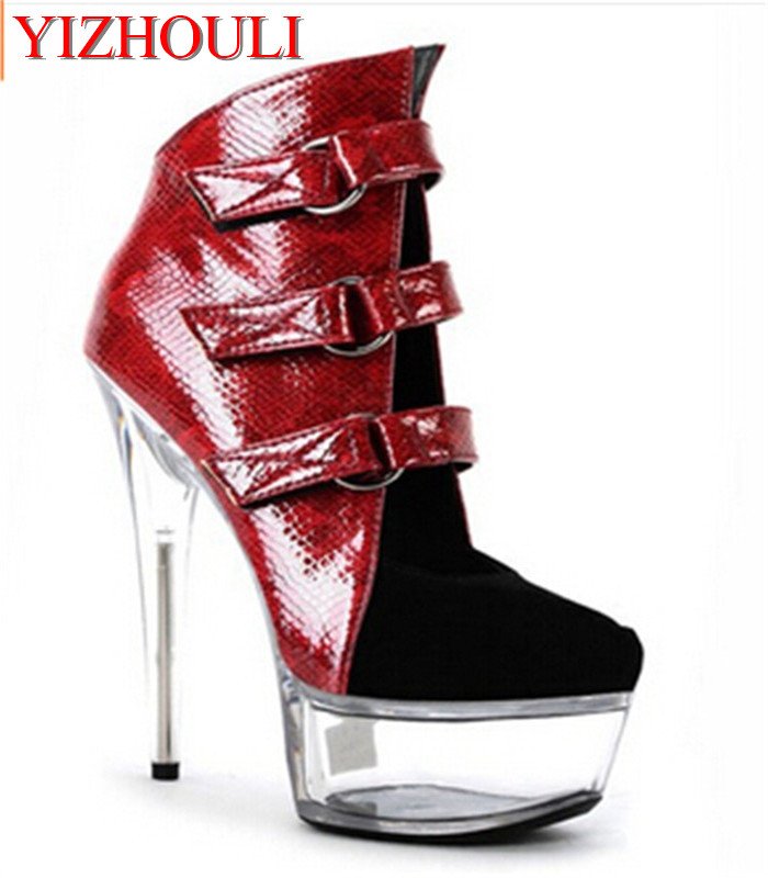 Womens sexy motorcycle Boots thick heel boots sexy 6 inch high-heeled pumps Punk color block 15cm High Heels BootsWomens sexy motorcycle Boots thick heel boots sexy 6 inch high-heeled pumps Punk color block 15cm High Heels Boots