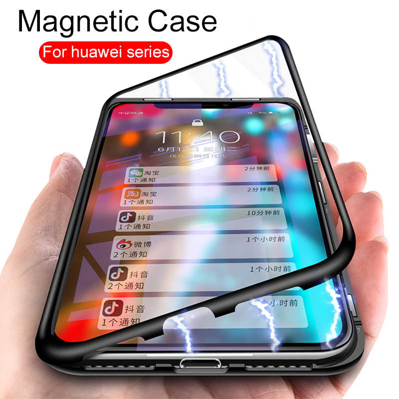 Luxury Magnetic Adsorption Phone Case For huawei p20 p10 lite plus pro nova 3 3i honor 8x 10 Y9 2019 Tempered Glass Flip Shell