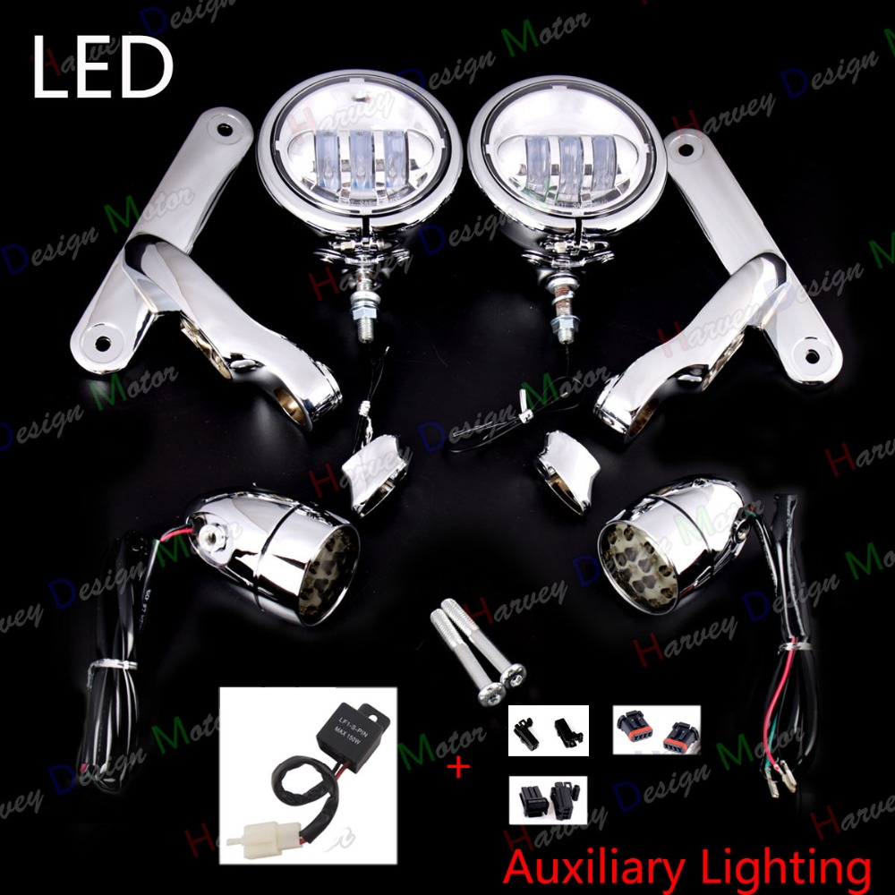LED Auxiliary Brackets Lighting&Turn Signals For Harley Touring Street Glide Road King FLHX 2014 2015 2016 2017 burst led auxiliary lighting black brackets with turn signals for harley street glide flhx 06 07 08 13