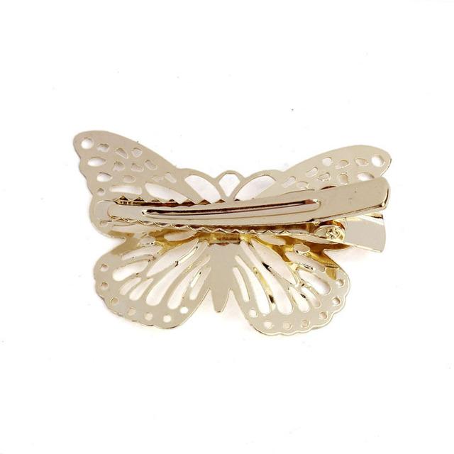 Butterfly Shaped Golden Hair Clips Set