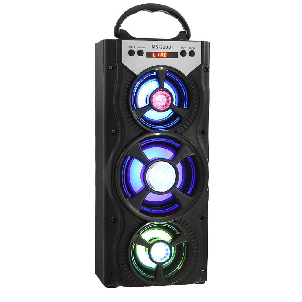 Mesuvida MS - 220BT Wireless Bluetooth Speaker LED Portable Hi-Fi Speaker Bass with AUX USB Cool LED Shining Light TF Card exrizu ms 136bt portable wireless bluetooth speakers 15w outdoor led light speaker subwoofer super bass music boombox tf radio