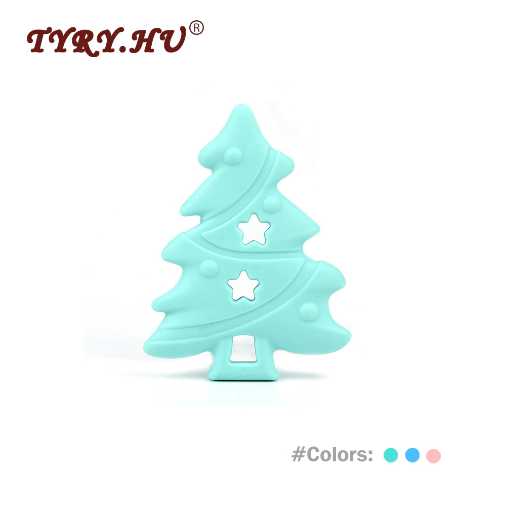 TYRY.HU 1Pc Christmas Tree Shaped Baby girl Silicone Teether Rodents Beads Teething Transducer Pendant Necklace Food Silicone tyry hu 1pc christmas tree shaped baby girl silicone teether rodents beads teething transducer pendant necklace food silicone