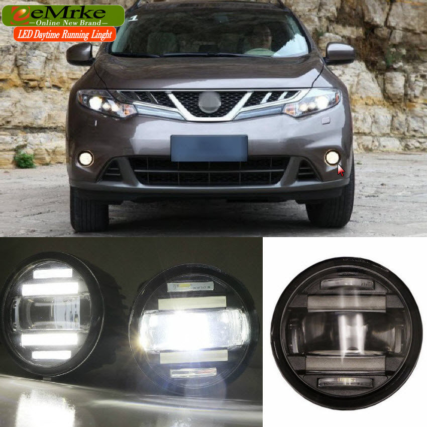 eeMrke Car Styling For Nissan Murano 2008-2015 2in1 Multifunction LED Fog Lights DRL With Lens Daytime Running Lights eemrke car styling for opel zafira opc 2005 2011 2 in 1 led fog light lamp drl with lens daytime running lights