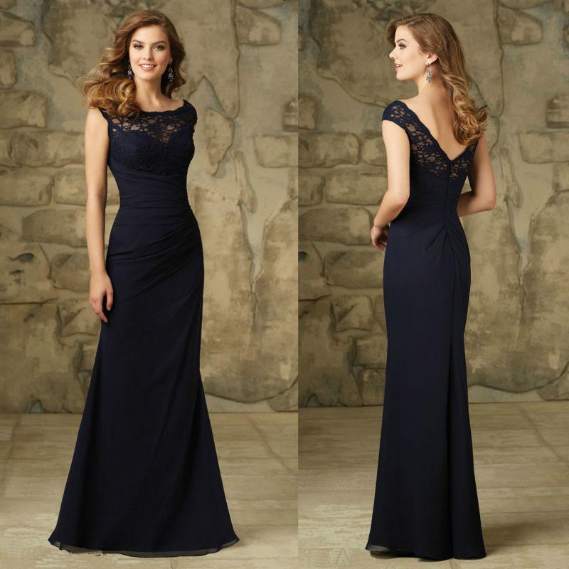 Custom Made Navy Blue Lace Long Bridesmaid Dresses 2015 ...