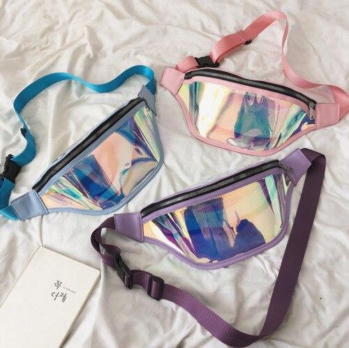 Bum-Bag Belt Fanny-Pack Laser Punk Holographic Transparent Waterproof Fashion Women Clear
