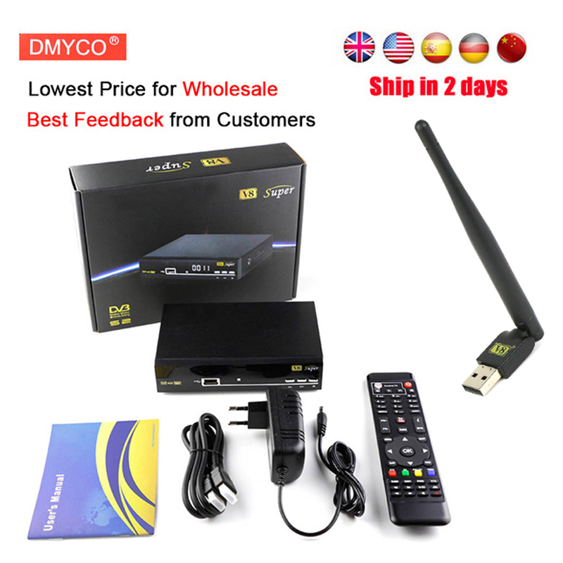DMYCO v8 super digital satellite receptor dvb s2 1080P Full HD satellite receiver+USB Wifi Support youtube iptv Youporn 3G