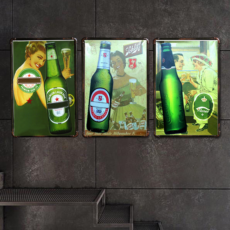 Beer Metal Sign Bar Wall Decoration Tin Vintage Poster Home Decor Painting Plaques Q001(299)30x20cm