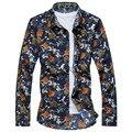 2017 Nueva Primavera de Alta Calidad Más El Tamaño 6XL 7XL Mens Florales de Impresión Camisas de Algodón para Hombres Camisas Causales