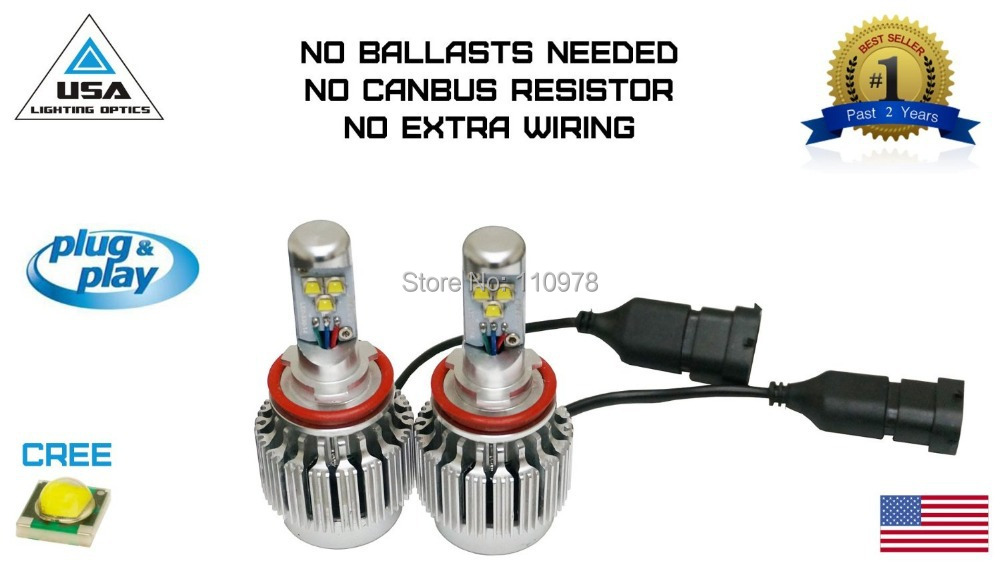 Pair!!! Newst!!All in One Turbo H8 H11 LED Head Lights 6000lm 3x Cree XM L2 Chips 30W Built-in CANBUS Resistor LED Head Lights female head teachers administrative challenges in schools in kenya