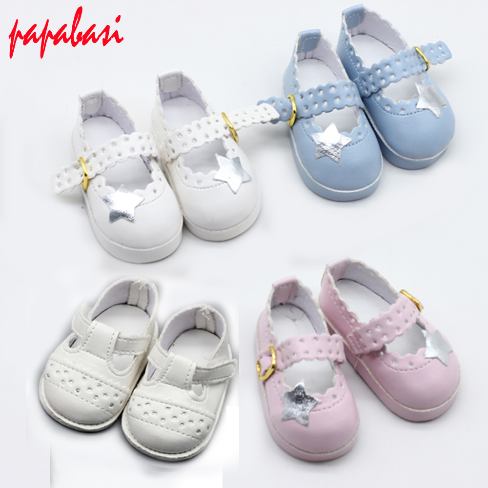 1pair Cute Doll Shoes Strap PU Leather Shoes For 16'' Sharon Dolls Clothing Accessories Toys