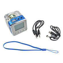 NIZHI TT-028 Digital FM Radio Mini Altavoces de Música Portátil radio FM SD/TF DEL Disco DEL USB MP3 del Lcd del Jugador de Color azul