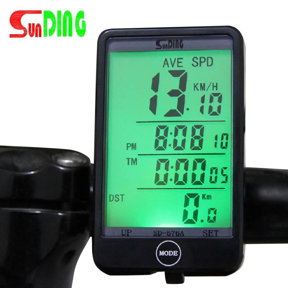 Sunding SD576A Vízálló automata kerékpáros számítógépes világítás mód Érintse meg a vezetékes kerékpár-kerékpáros sebességmérőt LCD háttérvilágítással