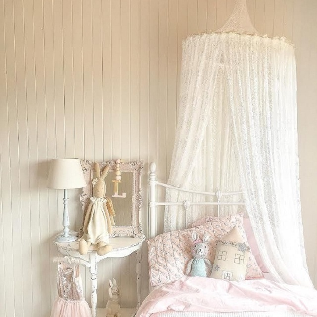 Nordic White Lace Girls Princess Dome Canopy Bed Curtains Round Kids Play Tent Room Decoration Baby & Nordic White Lace Girls Princess Dome Canopy Bed Curtains Round ...