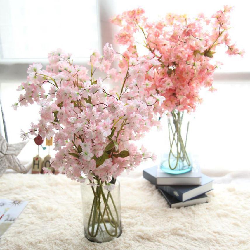 Artificial Fake Cherry Blossom Silk Flower Bridal Hydrangea Home Garden Decor levert dropship D630