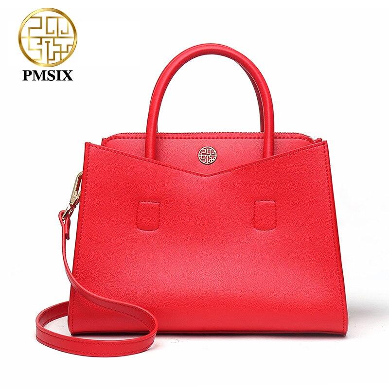 PMSIX Large capacity Red bolsa feminina casual Simple Trapeze Shape luxury handbags women bags designer