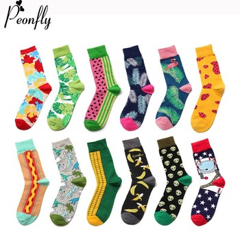PEONFLY Casual Cotton Men Colorful Cartoon Animals Plant Food Pattern Socks Harajuku Jacquard Street Hip Hop Funny Happy Socks