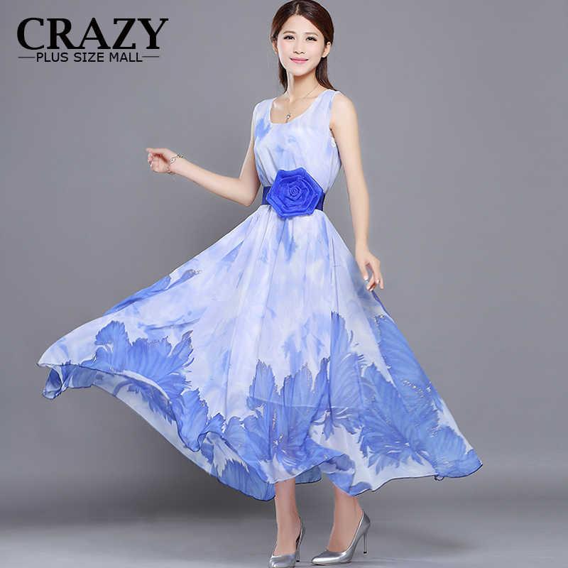 587ef3b95d Plus Size M- 5XL Summer Tank Dress 2019 New Women Clothing Print Flower  Belt Long